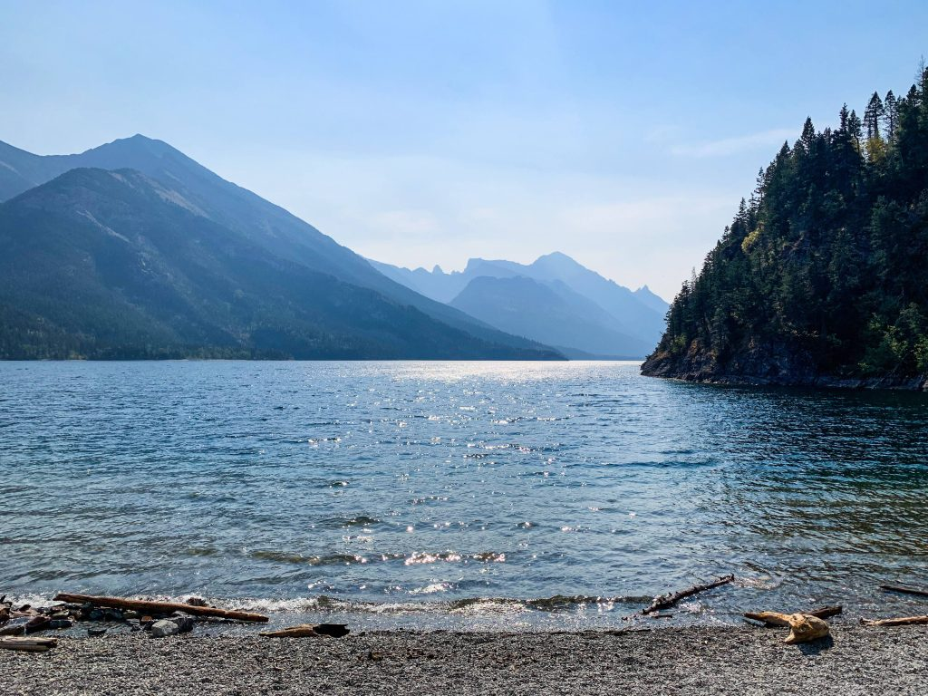 shows a view on the way to Boundary Bay. on the shore of Waterton Lake