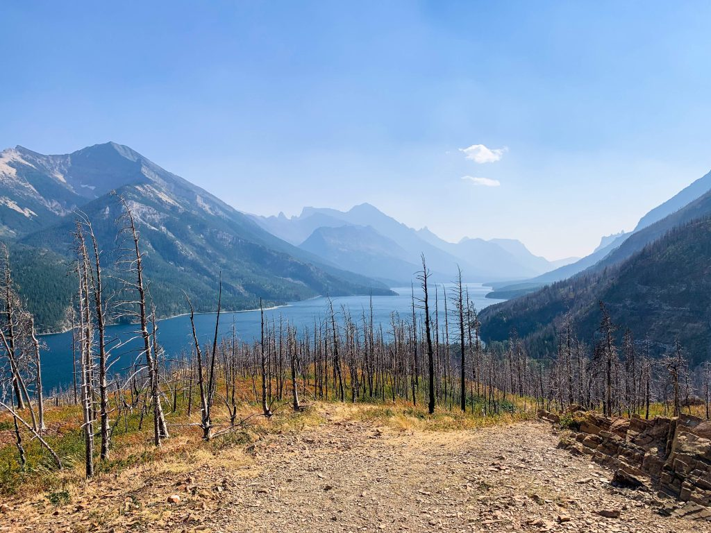 shows a view on the way to Boundary Bay. Waterton Lake with mountains in the background